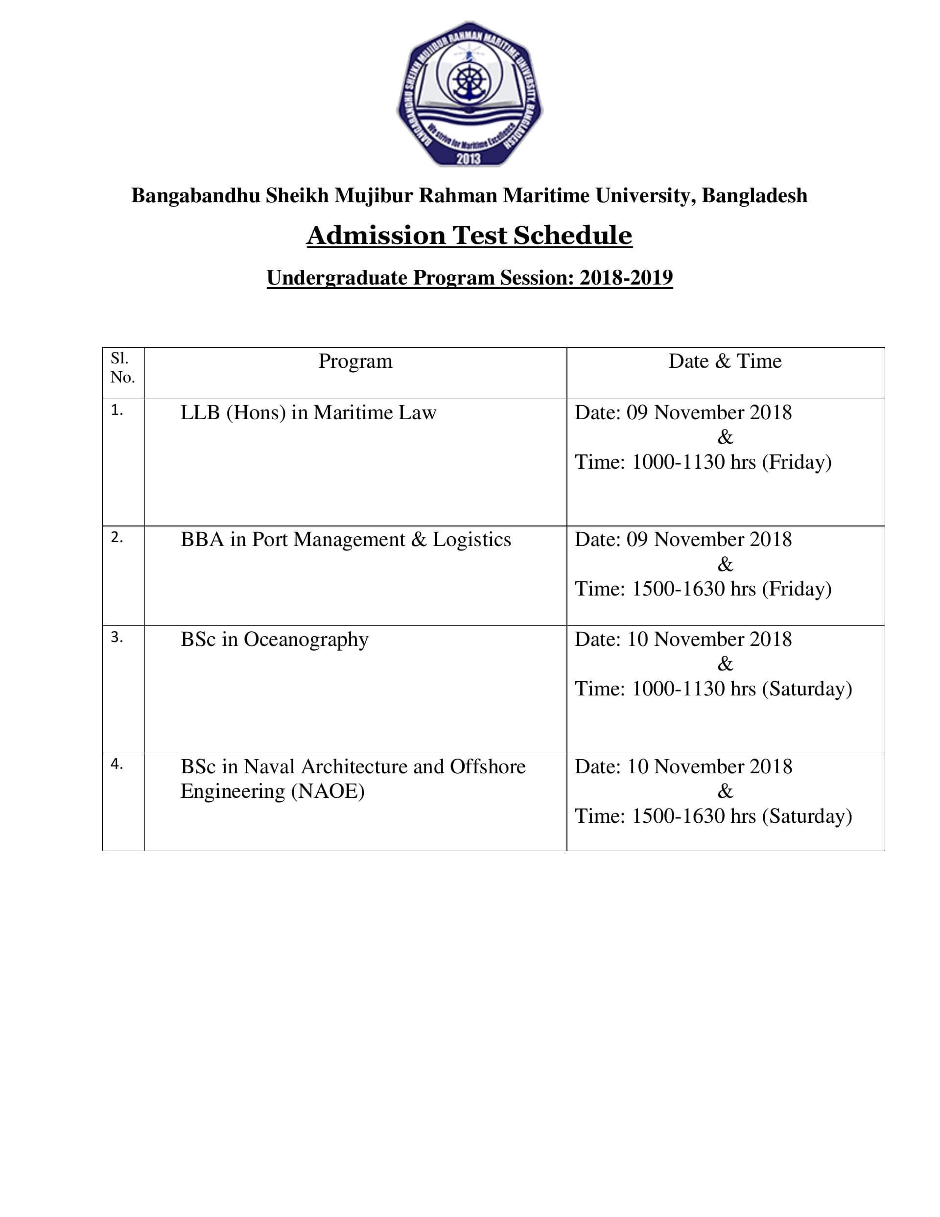 Bangabandhu Sheikh Mujibur Rahman maritime university Admission Schedule