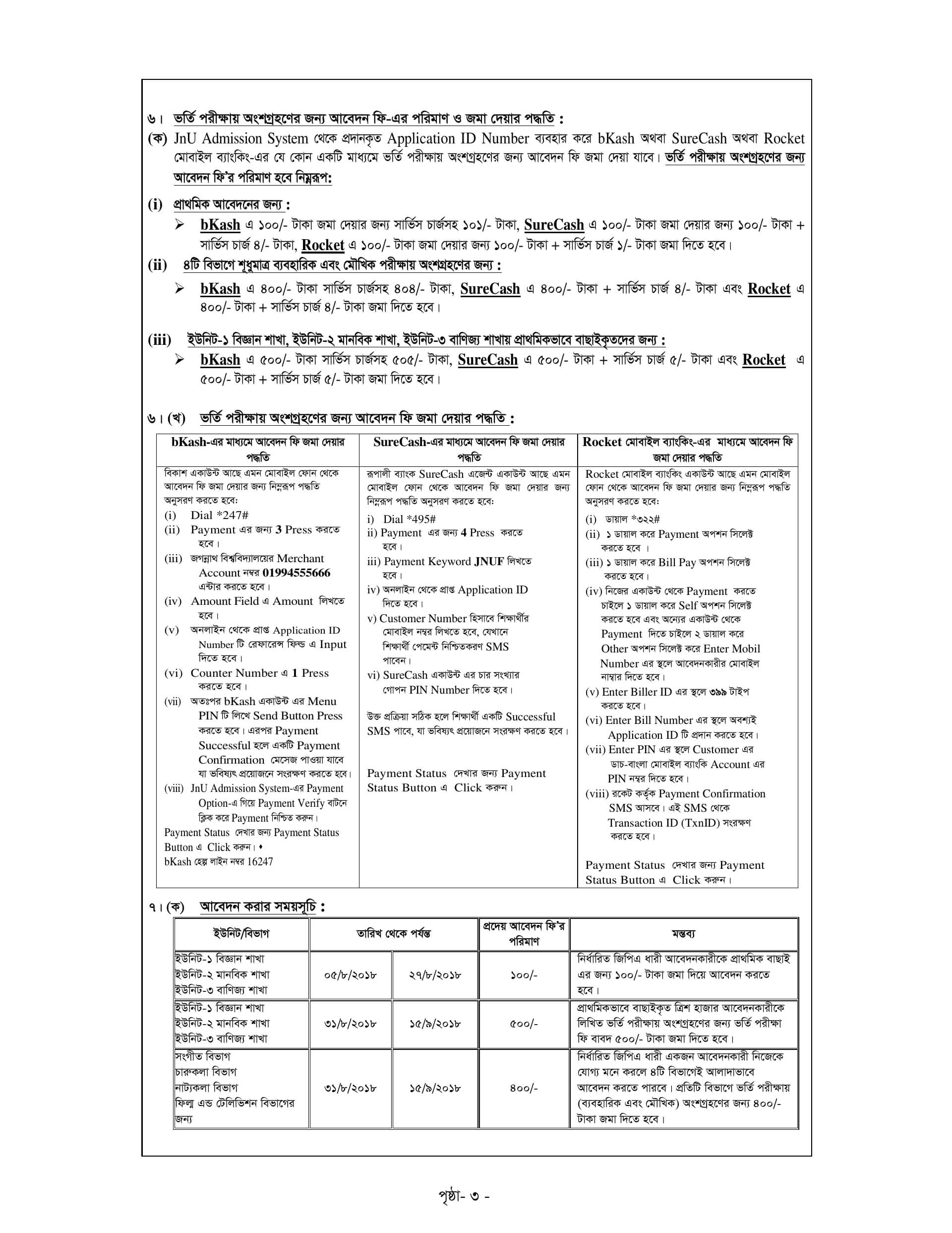Jagannath University Admission Circular-2