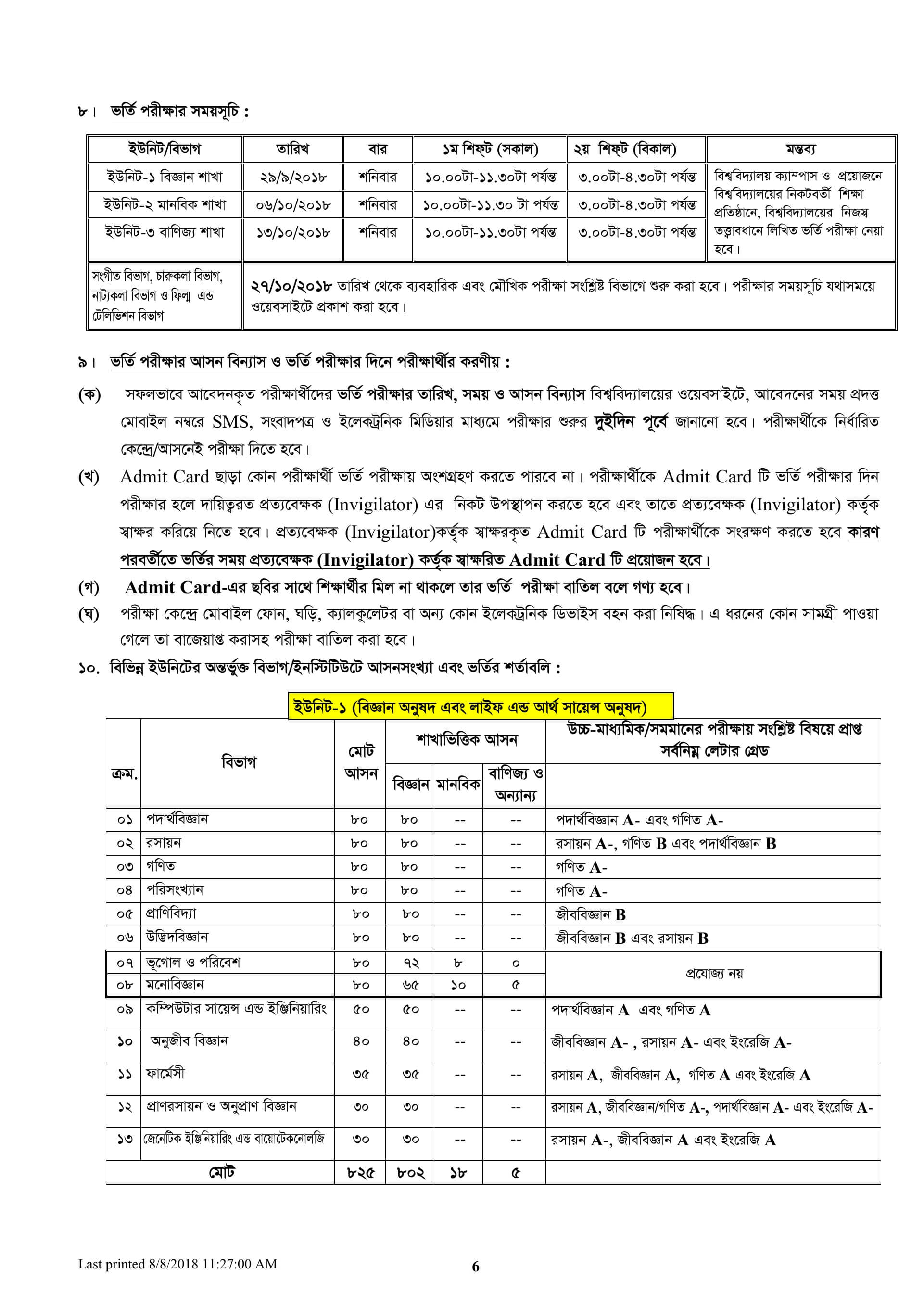 Jagannath University Admission Guideline-5